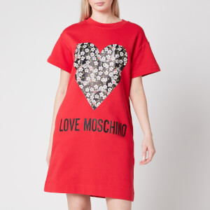 Love Moschino Women's Floral Heart T-Shirt Dress - Red