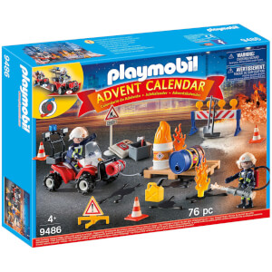 Playmobil Advent Calendar - Construction Site Fire Rescue with Pullback Motor (9486)