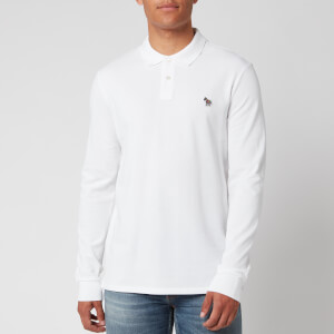 PS Paul Smith Men's Long Sleeve Zebra Polo Shirt - White