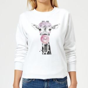 Bubblegum Giraffe Women's Sweatshirt - White