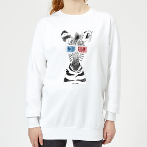 3D Zebra Women's Sweatshirt - White