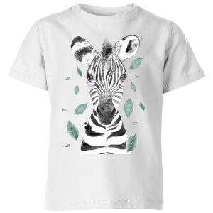 Zebra And Leaves Kids' T-Shirt - White