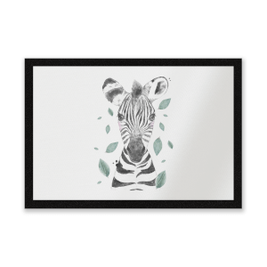 Zebra And Leaves Entrance Mat