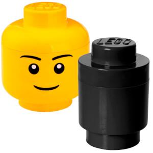 LEGO Storage Head & Round Brick Bundle (Includes 1 Small Boy Head and 1 Round Brick Black)