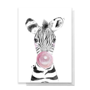 Zebra Pink Bubblegum Greetings Card