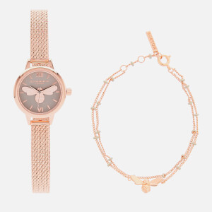 Olivia Burton Women's Mini Lucky Bee Watch and Bracelet Giftset - Rose Gold