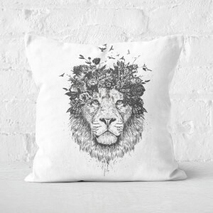 Floral Lion Black & White Cushion Square Cushion