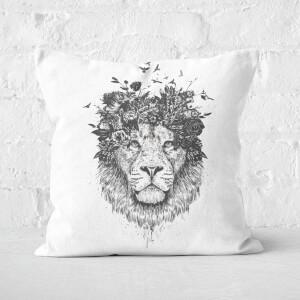 Floral Lion Black & White Cushion Square Cushion