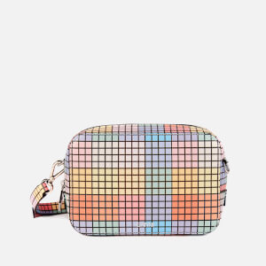 Ganni Women's Check Print Leather Cross Body Bag - Multicolour