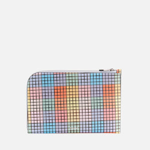 Ganni Women's Check Print Leather Pouch - Multicolour