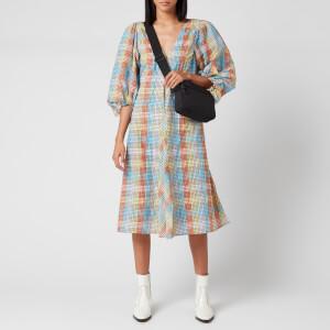 Ganni Women's Seersucker Check Mini Dress - Multicolour