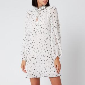 Ganni Women's Pleated Polk Dot Georgette Mini Dress - Egret