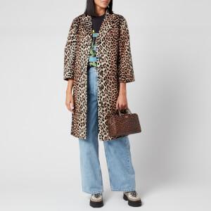Ganni Women's Leopard Print Linen Jacket - Leopard
