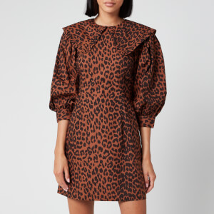 Ganni Women's Leopard Print Cotton Poplin Bib Dress - Toffee
