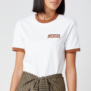 Ganni Women's Basic Cotton Logo T-Shirt - Bright White