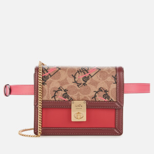 Coach 1941 Women's Signature All Over Horse and Carriage 3 by Guang Yu Hutton Belt Bag - Tan Red Apple Multi