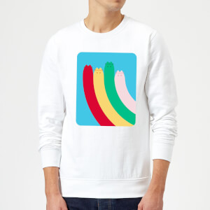Pusheen Half Rainbow Rectangular Print Sweatshirt - White