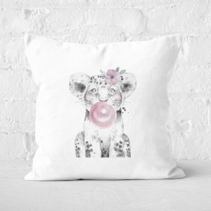 Pressed Flowers Bubblegum Cub Square Cushion