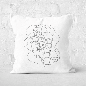 Pressed Flowers Elephant Scribbles Square Cushion