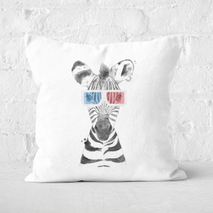 Pressed Flowers 3D Zebra Square Cushion