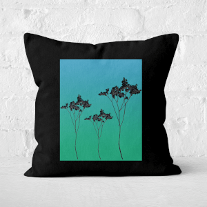 Pressed Flowers Ombre Sunrise Flowers Square Cushion