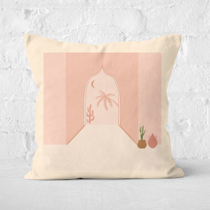 Pressed Flowers Palm Tree Door Way Square Cushion