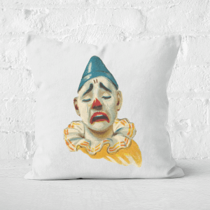 Pressed Flowers Crying Clown Square Cushion