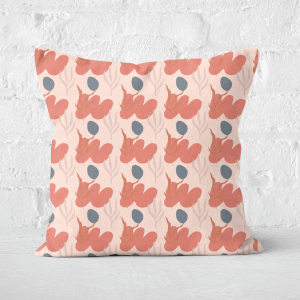 Pressed Flowers Small Abstract Leaves Square Cushion