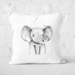 Pressed Flowers Cute Elephant Square Cushion