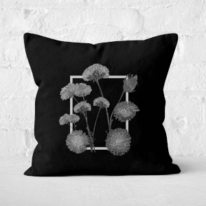 Pressed Flowers Monochrom Framed Sketched Flowers Square Cushion