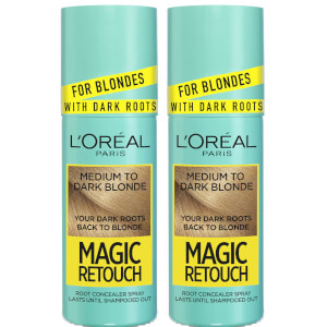 L'Oréal Paris Magic Retouch Medium to Dark Blonde Root Concealer Spray Duo Pack