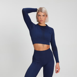 Top de manga larga acanalado sin costuras Raw Training para mujer - Midnight