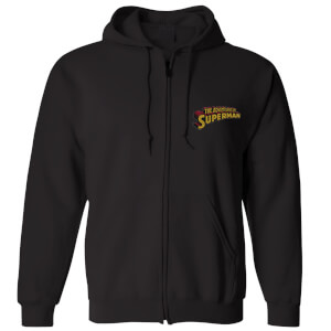 DC Superman Embroidered Unisex Zipped Hoodie - Black