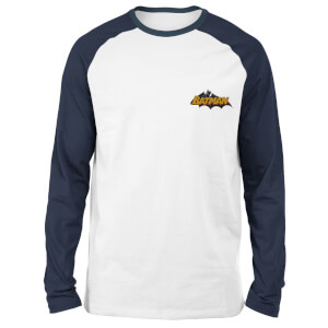 DC Batman Embroidered Unisex Long Sleeved Raglan T-Shirt - White/Navy