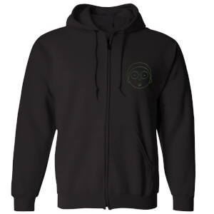 Rick and Morty Morty Embroidered Unisex Zipped Hoodie - Black