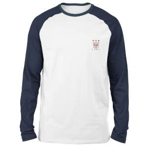 T-shirt à manches longues Raglan Transformers Autobots - Brodé - Blanc/Bleu Marine - Unisexe