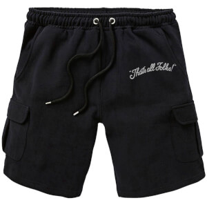Looney Tunes That's All Folks Embroidered Unisex Cargo Shorts - Black