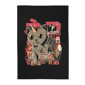 Ilustrata Catzilla Cotton Tea Towel - Black