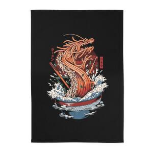 Ilustrata Dragon Ramen Cotton Tea Towel - Black
