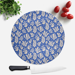 Cool Tone Leaves Round Chopping Board