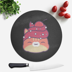 Cupcake Cat Round Chopping Board