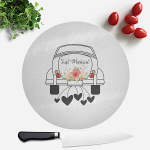 Just Married Car Round Chopping Board