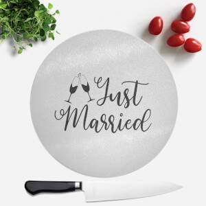 Just Married Signature Round Chopping Board