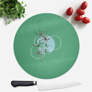 Pressed Flowers Cool Tones Flowers and Circles Round Chopping Board