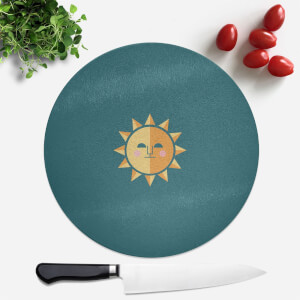 Pressed Flowers The Sun Round Chopping Board