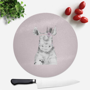 Pressed Flowers Indie Rhino Round Chopping Board