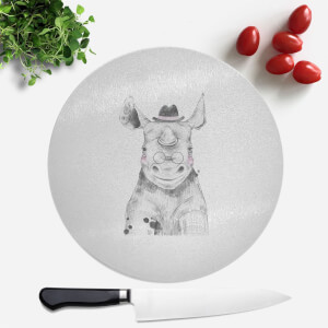 Pressed Flowers Literate Rhino Round Chopping Board