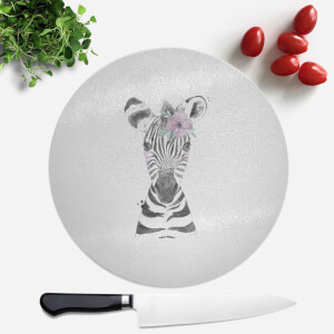 Pressed Flowers Floral Zebra Round Chopping Board