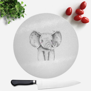 Pressed Flowers Cute Elephant Round Chopping Board