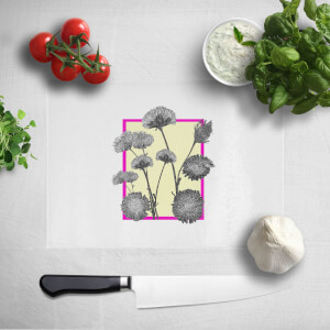 Pressed Flowers Feminine Tones Framed Sketched Flowers Chopping Board